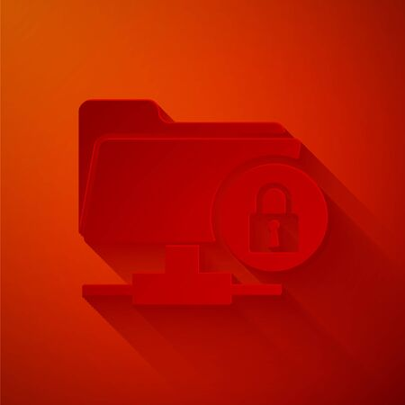 Paper cut FTP folder and lock icon isolated on red background. Concept of software update, ftp transfer protocol. Security, safety, protection concept. Paper art style. Vector Illustration
