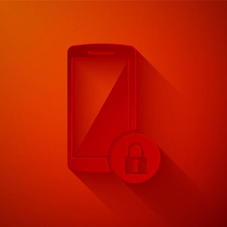 Paper cut Smartphone with closed padlock icon isolated on red background. Phone with lock. Mobile security, safety, protection concept. Paper art style. Vector Illustration