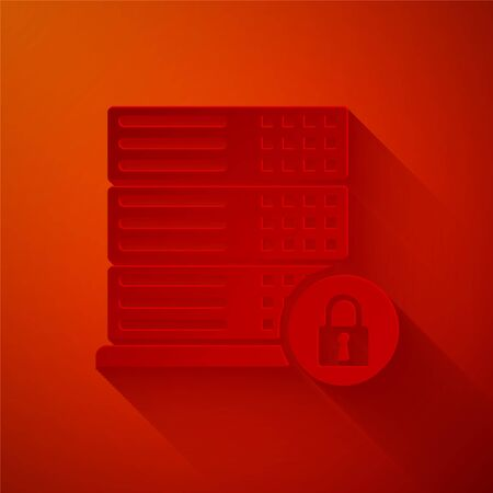 Paper cut Server security with closed padlock icon isolated on red background. Security, safety, protection concept. Paper art style. Vector Illustration Illustration