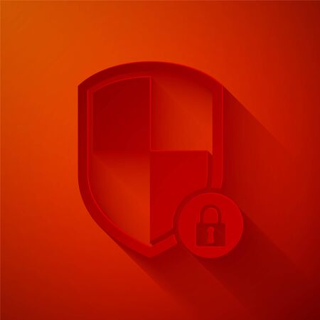 Paper cut Shield security with lock icon isolated on red background. Protection, safety, password security. Firewall access privacy sign. Paper art style. Vector Illustration Illustration