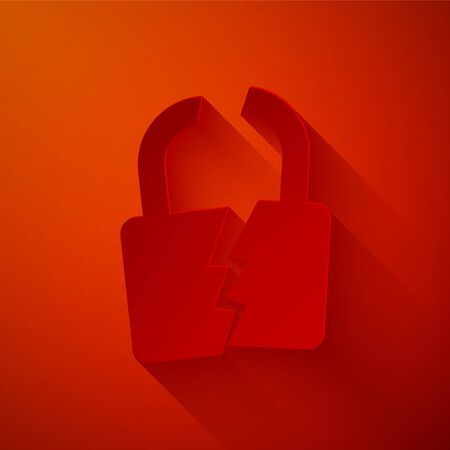 Paper cut Broken or cracked lock icon isolated on red background. Unlock sign. Paper art style. Vector Illustration