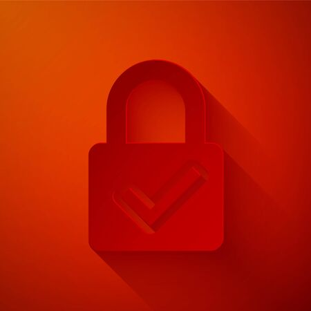 Paper cut Open padlock and check mark icon isolated on red background. Cyber security concept. Digital data protection. Safety safety. Paper art style. Vector Illustration Illustration