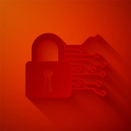 Paper cut Cyber security icon isolated on red background. Closed padlock on digital circuit board. Safety concept. Digital data protection. Paper art style. Vector Illustration