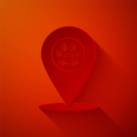 Paper cut Map pointer with veterinary medicine hospital, clinic or pet shop for animals icon isolated on red background. Vet or veterinarian clinic. Paper art style. Vector Illustration