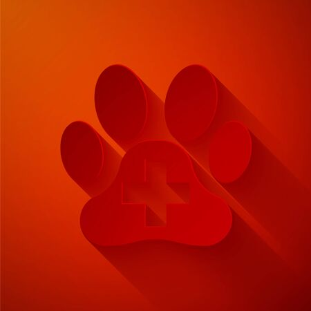 Paper cut Veterinary clinic symbol icon isolated on red background. Cross hospital sign. A stylized paw print dog or cat. Pet First Aid sign. Paper art style. Vector Illustration Illusztráció