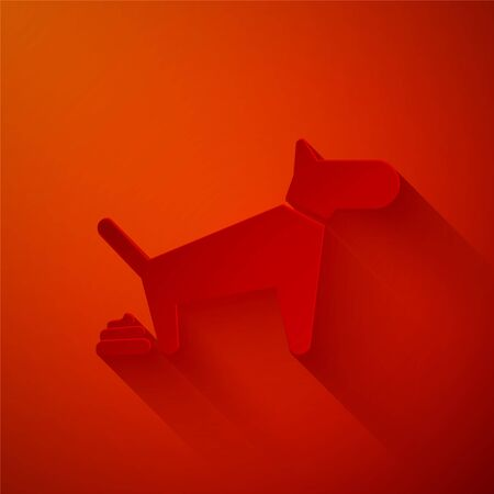 Paper cut Dog pooping icon isolated on red background. Dog goes to the toilet. Dog defecates. The concept of place for walking pets. Paper art style. Vector Illustration Illustration
