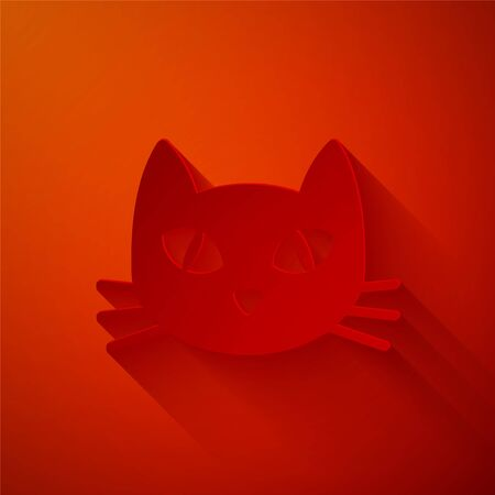 Paper cut Cat icon isolated on red background. Paper art style. Vector Illustration