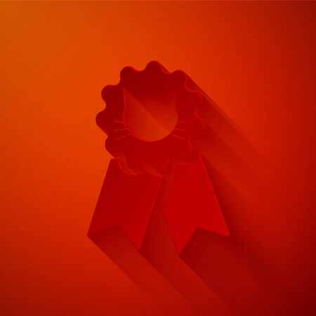 Paper cut Cat award symbol icon isolated on red background. Medal with cat footprint as pets exhibition winner concept. Paper art style. Vector Illustration Reklamní fotografie - 133842390
