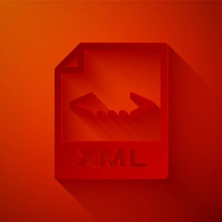 Paper cut XML file document. Download xml button icon isolated on red background. XML file symbol. Paper art style. Vector Illustration