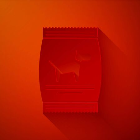 Paper cut Bag of food for dog icon isolated on red background. Food for animals. Pet food package. Paper art style. Vector Illustration Stockfoto - 133842856