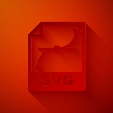 Paper cut SVG file document. Download svg button icon isolated on red background. SVG file symbol. Paper art style. Vector Illustration