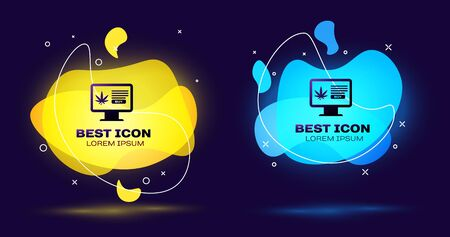 Black Computer monitor and medical marijuana or cannabis leaf icon on dark blue background. Online buying symbol. Supermarket basket. Set abstract banner with liquid shapes. Vector Illustration