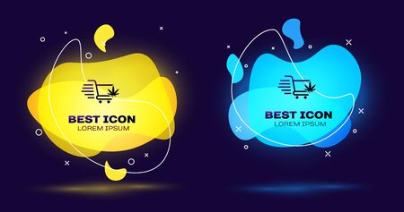 Black Shopping cart with marijuana or cannabis leaf icon on dark blue background. Online buying. Delivery service. Supermarket basket. Set abstract banner with liquid shapes. Vector Illustration