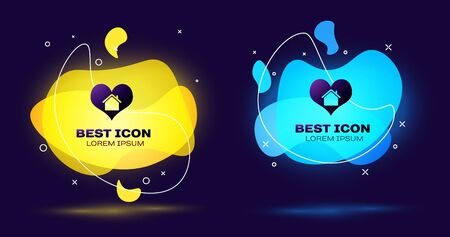 Black House with heart shape icon isolated on dark blue background. Love home symbol. Family, real estate and realty. Set abstract banner with liquid shapes. Vector Illustration