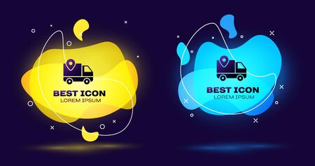 Black Delivery tracking icon on dark blue background. Parcel tracking. Set abstract banner with liquid shapes. Vector Illustration 일러스트