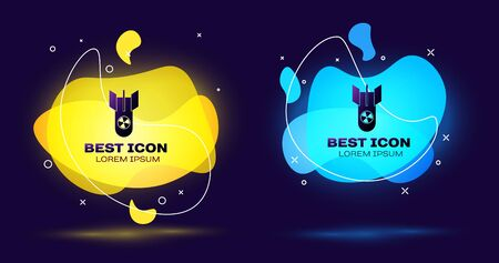 Black Nuclear bomb icon isolated on dark blue background. Rocket bomb flies down. Set abstract banner with liquid shapes. Vector Illustration