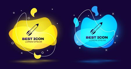 Black Rocket icon isolated on dark blue background. Set abstract banner with liquid shapes. Vector Illustration