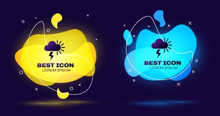 Black Storm icon isolated on dark blue background. Cloudy with lightning and sun sign. Weather icon of storm. Set abstract banner with liquid shapes. Vector Illustration Stock Vector - 133845360