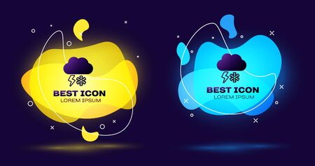 Black Cloud with snow and lightning icon isolated on dark blue background. Cloud with snowflakes. Single weather icon. Snowing sign. Set abstract banner with liquid shapes. Vector Illustration