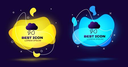 Black Cloud with rain and lightning icon isolated on dark blue background. Rain cloud precipitation with rain drops.Weather icon of storm. Set abstract banner with liquid shapes. Vector Illustration