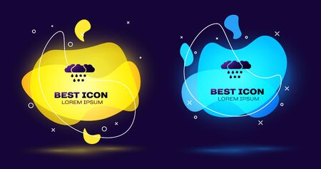 Black Cloud with snow and rain icon isolated on dark blue background. Weather icon. Set abstract banner with liquid shapes. Vector Illustration Illustration