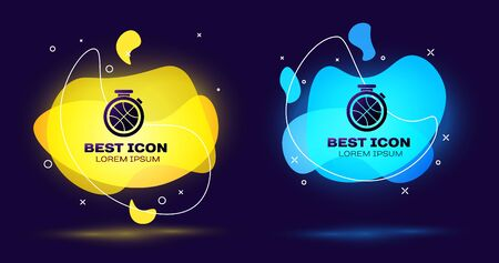 Black Stopwatch with basketball ball inside icon isolated on blue background. Basketball time. Sport and training. Set abstract banner with liquid shapes. Vector Illustration