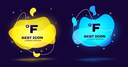 Black Fahrenheit icon isolated on blue background. Set abstract banner with liquid shapes. Vector Illustration