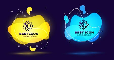 Black Hot and cold symbol. Sun and snowflake icon isolated on blue background. Winter and summer symbol. Set abstract banner with liquid shapes. Vector Illustration