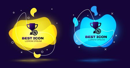 Black Award cup with basketball ball icon isolated on blue background. Winner trophy symbol. Championship or competition trophy. Set abstract banner with liquid shapes. Vector Illustration