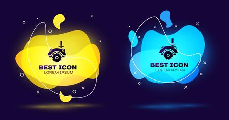 Black Electric circular saw with steel toothed disc icon isolated on blue background. Electric hand tool for cutting wood or metal. Set abstract banner with liquid shapes. Vector Illustration Illustration