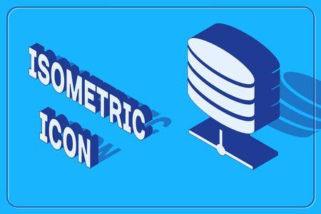 Isometric Server, Data, Web Hosting icon isolated on blue background. Vector Illustration