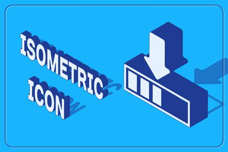 Isometric Loading icon isolated on blue background. Download in progress. Progress bar icon. Vector Illustration