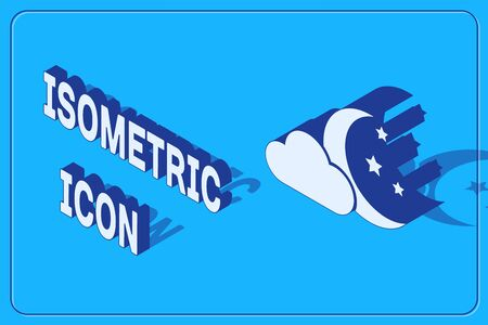 Isometric Cloud with moon and stars icon isolated on blue background. Cloudy night sign. Sleep dreams symbol. Night or bed time sign. Vector Illustration