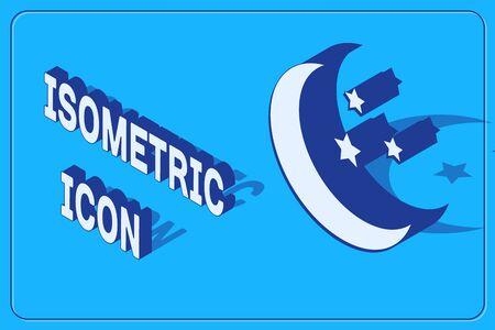 Isometric Moon and stars icon isolated on blue background. Vector Illustration Ilustracja