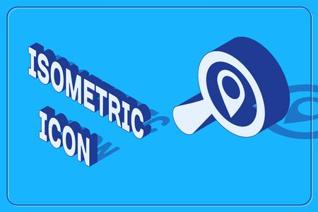 Isometric Search location icon isolated on blue background. Magnifying glass with pointer sign. Vector Illustration