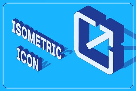 Isometric Open in new window icon isolated on blue background. Open another tab button sign. Browser frame symbol. External link sign. Vector Illustration