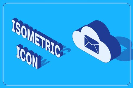 Isometric Cloud mail server icon isolated on blue background. Cloud server hosting for email. Online message service. Mailbox sign. Vector Illustration