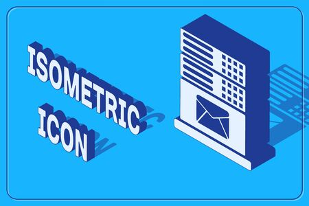 Isometric Mail server icon isolated on blue background. Vector Illustration