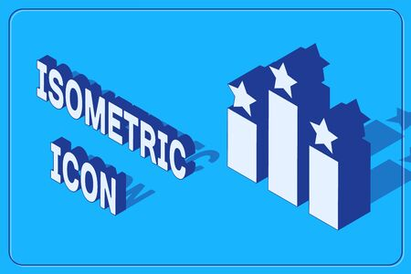 Isometric Ranking star icon isolated on blue background. Star rating system. Favorite, best rating, award symbol. Vector Illustration  イラスト・ベクター素材