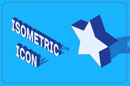 Isometric Star icon isolated on blue background. Favorite, best rating, award symbol. Vector Illustration