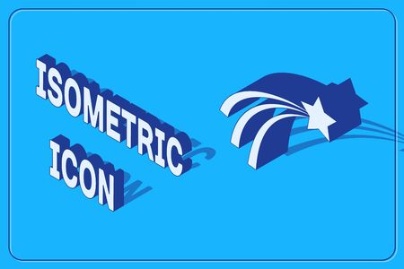 Isometric Falling star icon isolated on blue background. Shooting star with star trail. Meteoroid, meteorite, comet, asteroid, star icon. Vector Illustration