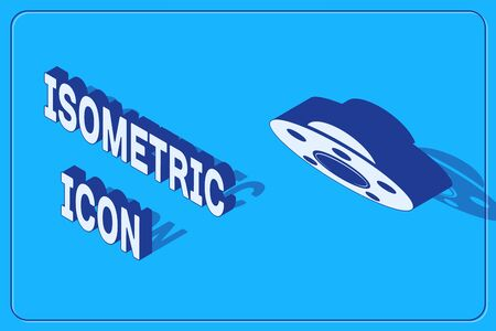 Isometric UFO flying spaceship icon isolated on blue background. Flying saucer. Alien space ship. Futuristic unknown flying object. Vector Illustration