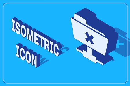 Isometric FTP cancel operation icon isolated on blue background. Software update, transfer protocol, router, teamwork tool management, copy process. Vector Illustration Ilustracja