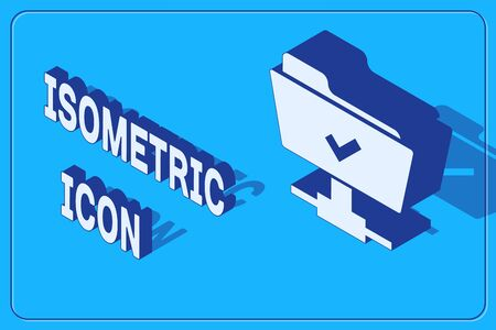 Isometric FTP operation successful icon isolated on blue background. Software update, transfer protocol, teamwork tool management, copy process. Vector Illustration