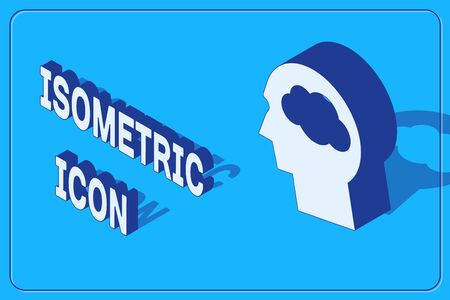 Isometric Head silhouette with cloud icon isolated on blue background. Dreaming sign. Vector Illustration
