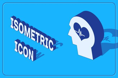 Isometric Male head with a heartbeat icon isolated on blue background. Head with mental health, healthcare and medical sign. Vector Illustration