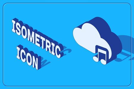 Isometric Music streaming service icon isolated on blue background. Sound cloud computing, online media streaming, online song, audio wave. Vector Illustration