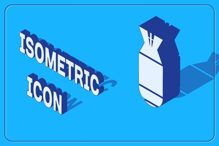 Isometric Aviation bomb icon isolated on blue background. Rocket bomb flies down. Vector Illustration