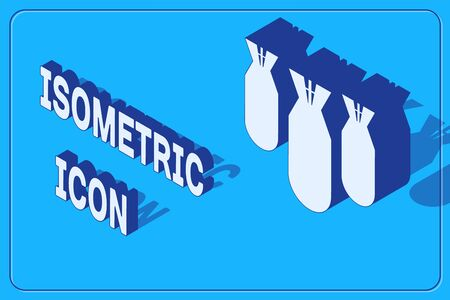 Isometric Aviation bombs icon isolated on blue background. Rocket bomb flies down. Vector Illustration Illusztráció