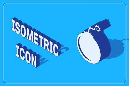 Isometric Bomb ready to explode icon isolated on blue background. Vector Illustration